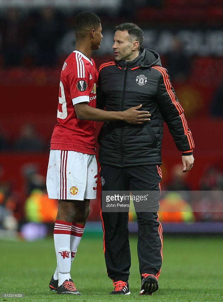 Marcus Rashford Of Manchester United Celebrates With Assistant Manchester United Manchester United Football Club Manchester United Legends