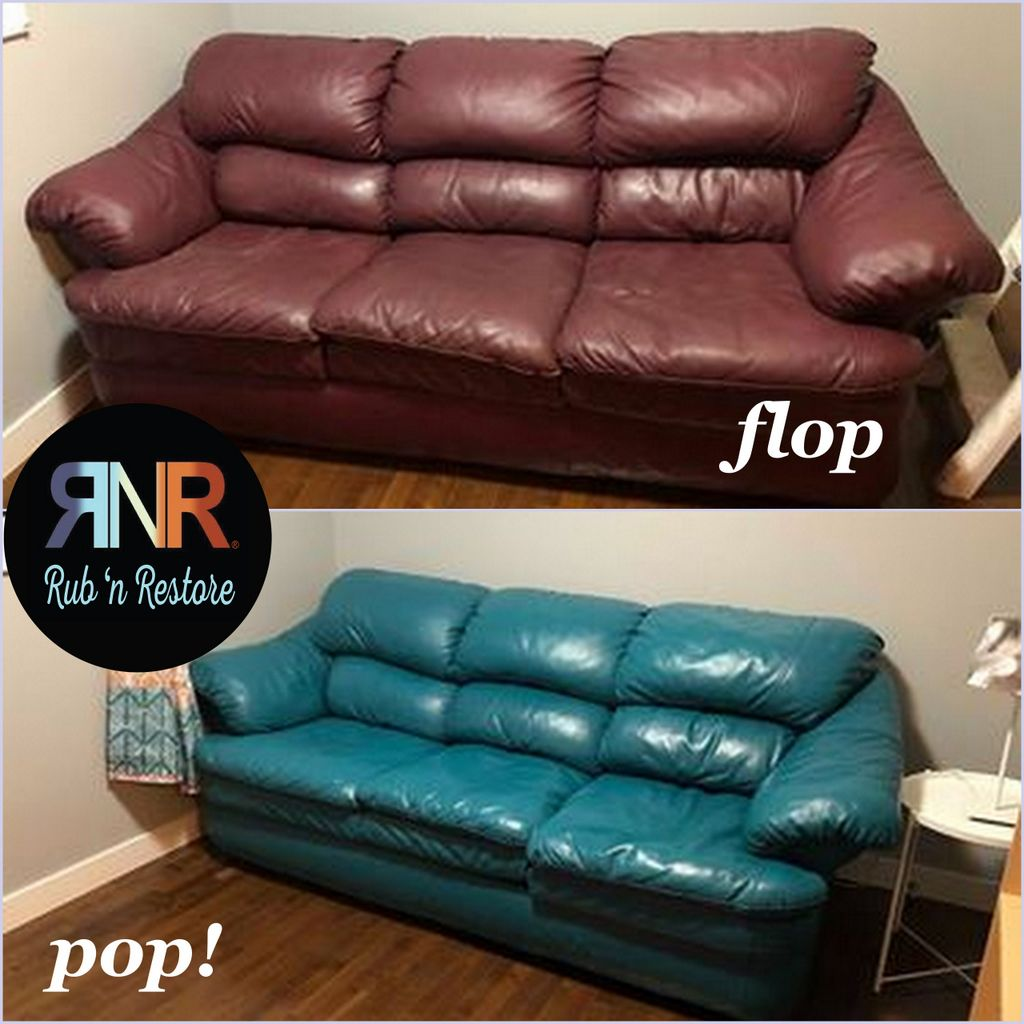Lisa Goes Boldly Matches The Ds By Recoloring Her Leather Couch Using Turquoise Rub N Re Stain