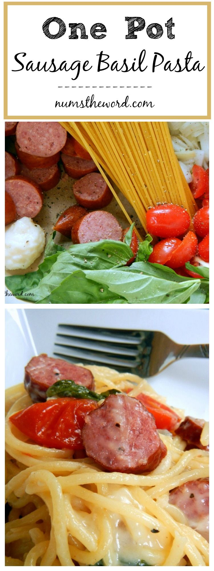 One Pot Sausage Basil Pasta - Looking for a quick weeknight dinner that requires very little effort or clean up? How about this 20 minute one pot pasta your whole family will love! #sausagedinner
