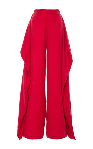These **PAPER London** Arizona Pants With Side Drape feature a high rise waist…