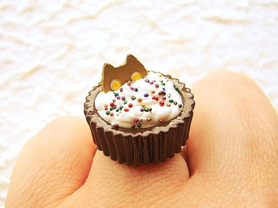 Cute Cat Ring Chocolate Ice Cream Miniature by SouZouCreations, $12.50
