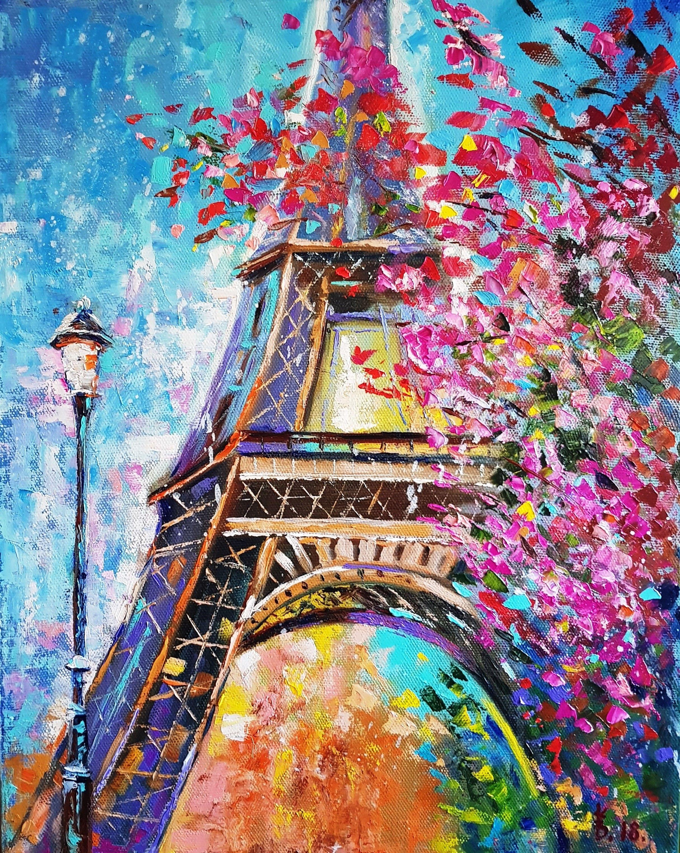 Paris Eiffel Tower Oil Painting France Impasto Painting Paris Cherry Blossom Painting French Landscape Eiffel Tower Streetlight Wall Art Eiffel Tower Painting Eiffel Tower Art Cityscape Painting