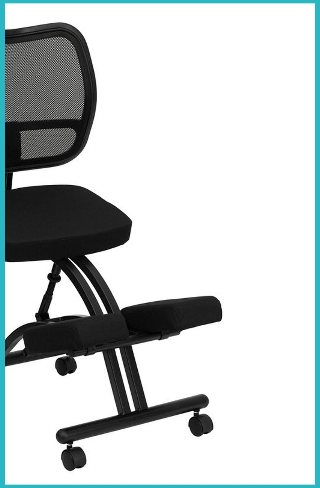 Flash Furniture Mobile Ergonomic Kneeling Task Chair with Black Curved Mesh Back and Fabric Seat