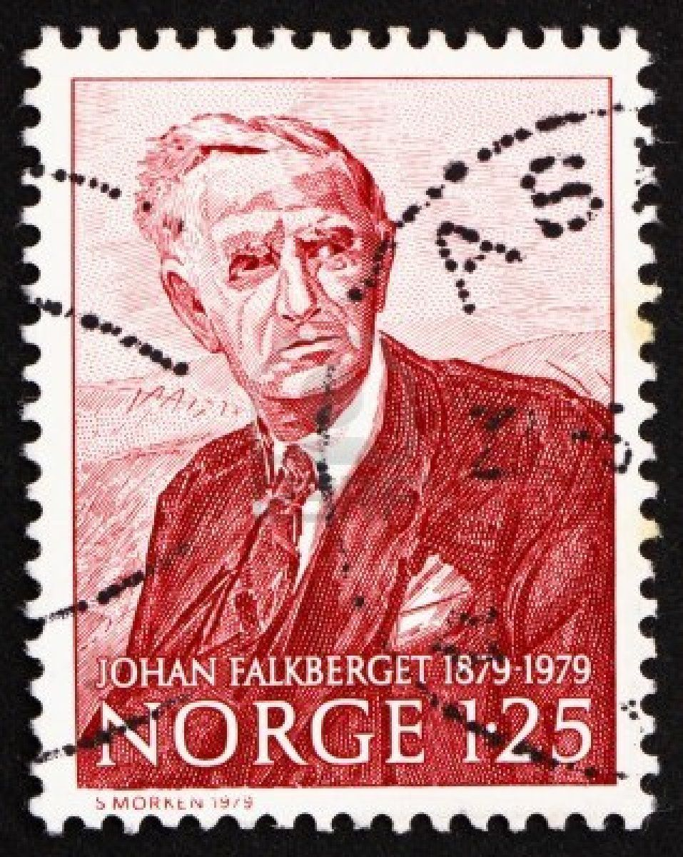 NORWAY - CIRCA 1979: a stamp printed in the Norway shows Johan Falkberget, novelist, circa 1979
