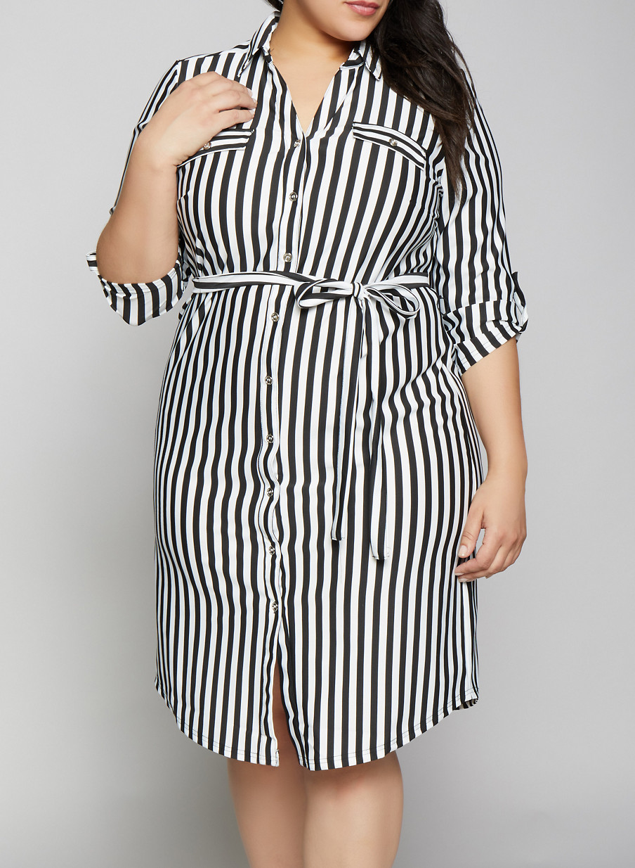 Plus Size Tab Sleeve Striped Shirt Dress | Products in 2019 ...
