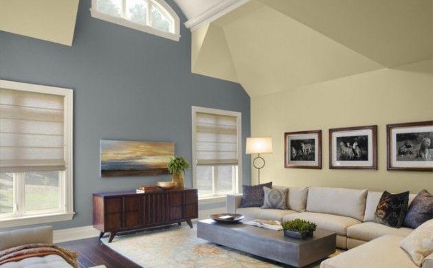 wandfarbe 2016 trendfarben pastelltöne blau gelb creme wohnzimmer