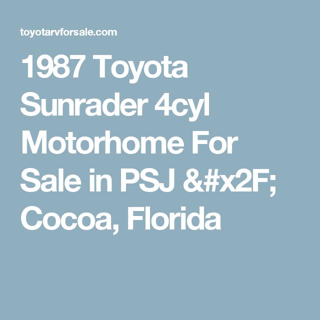 1987 Sunrader Psj Cocoa Fl Cocoa Toyota Motorhome