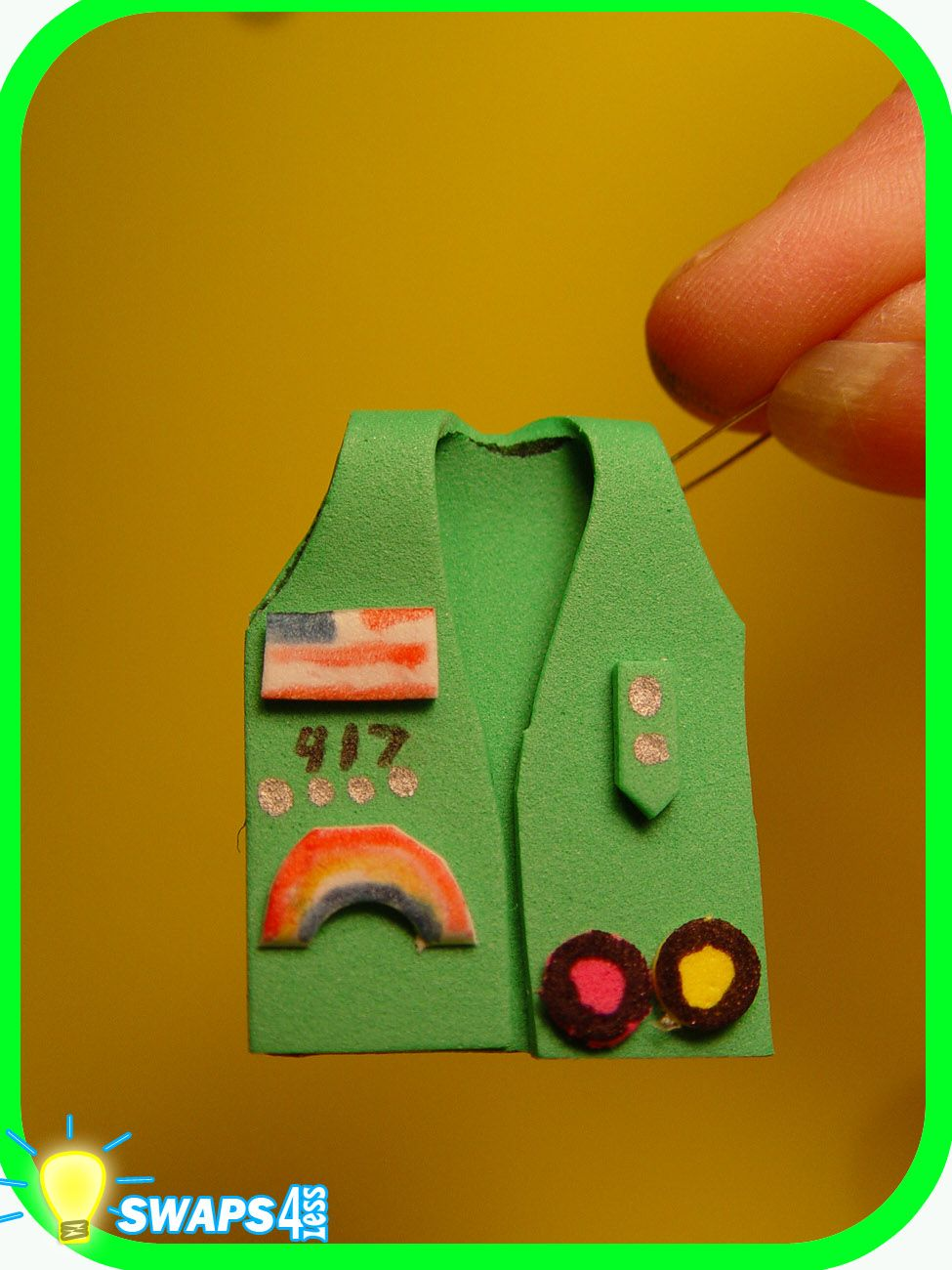 Junior vest 3 d scout swaps craft kit swaps4less girls for Girl scout daisy craft ideas