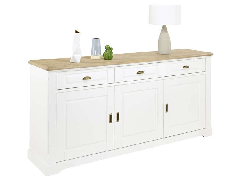 Buffet 3 portes COTTAGE coloris blanc pas cher - Buffet ...