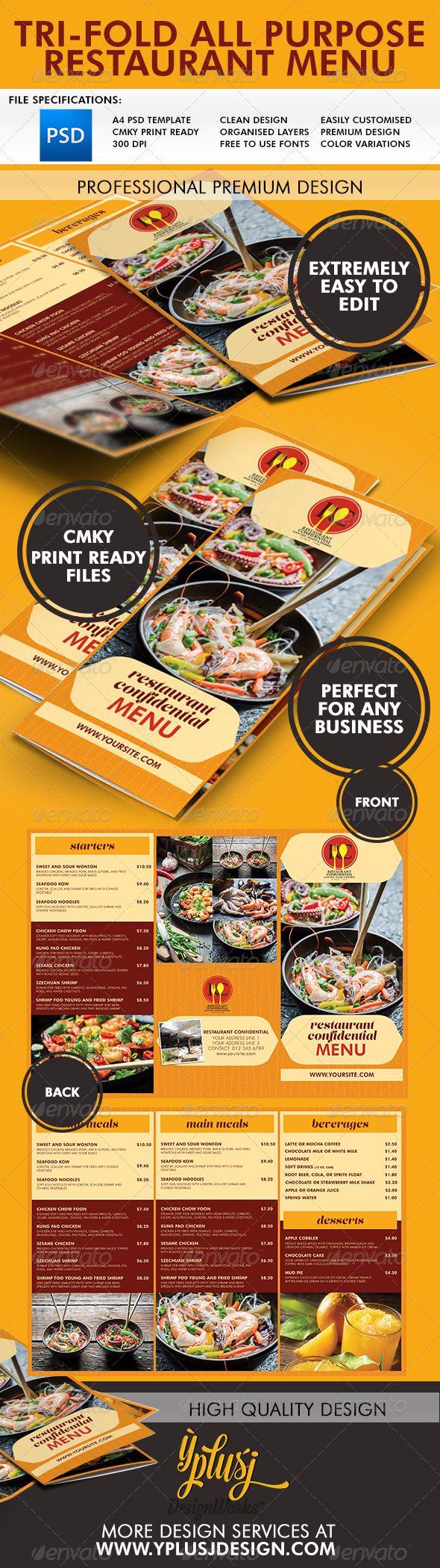 all purpose 3 fold menu pinterest menu templates menu and purpose