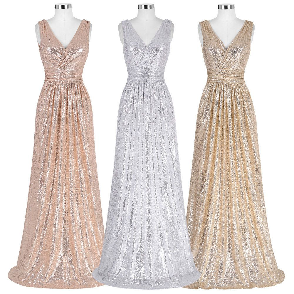 12a801268661 Ladies Gold Shinny Long Formal Evening Maxi Dress Pageant Party Prom  Wedding. Long Sequin Dress Evening Maxi Formal Wedding Bridesmaid Cocktail  Ball ...