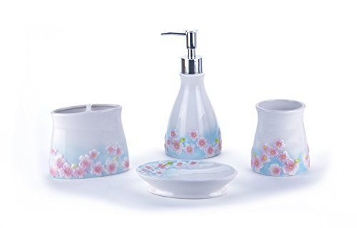4 Piece Bathroom Accessory Set Toothbrush Holder Tumbler Soap Dispenser And Dish