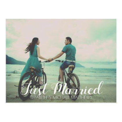 Just Married Script Custom Photo Wedding Thank You Postcard