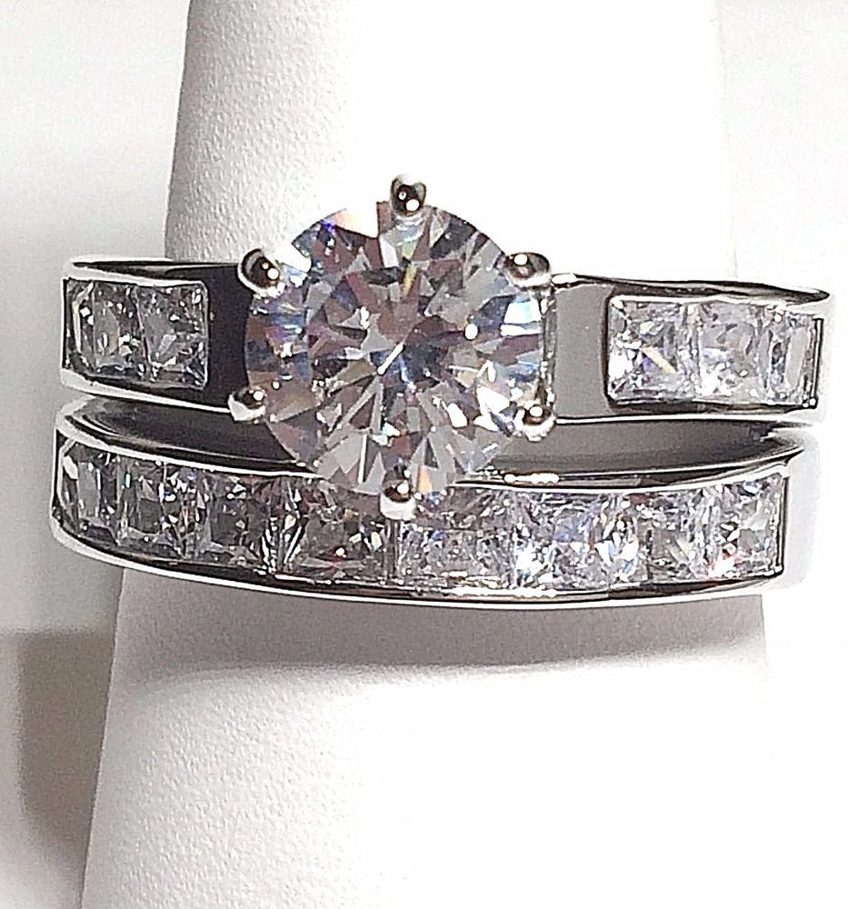 Silver Rhodium Plated Cubic Zirconia Ring Set Channel Set