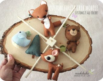 Woodland Animals Baby Mobile Forest Nursery Decor by pinkTopic