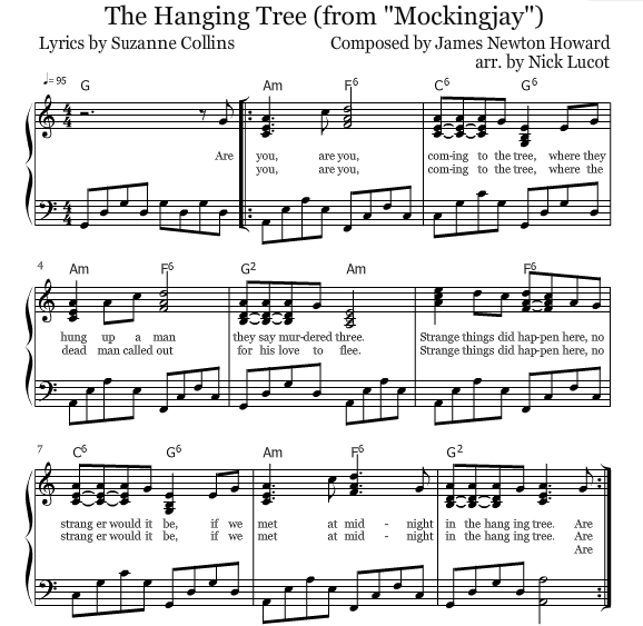 Mockingjay: The Hanging Tree Piano Sheets. The Hunger