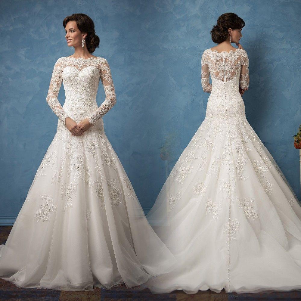 Cheap Long Sleeve Lace Wedding Dresses Mermaid robe de mariage ...