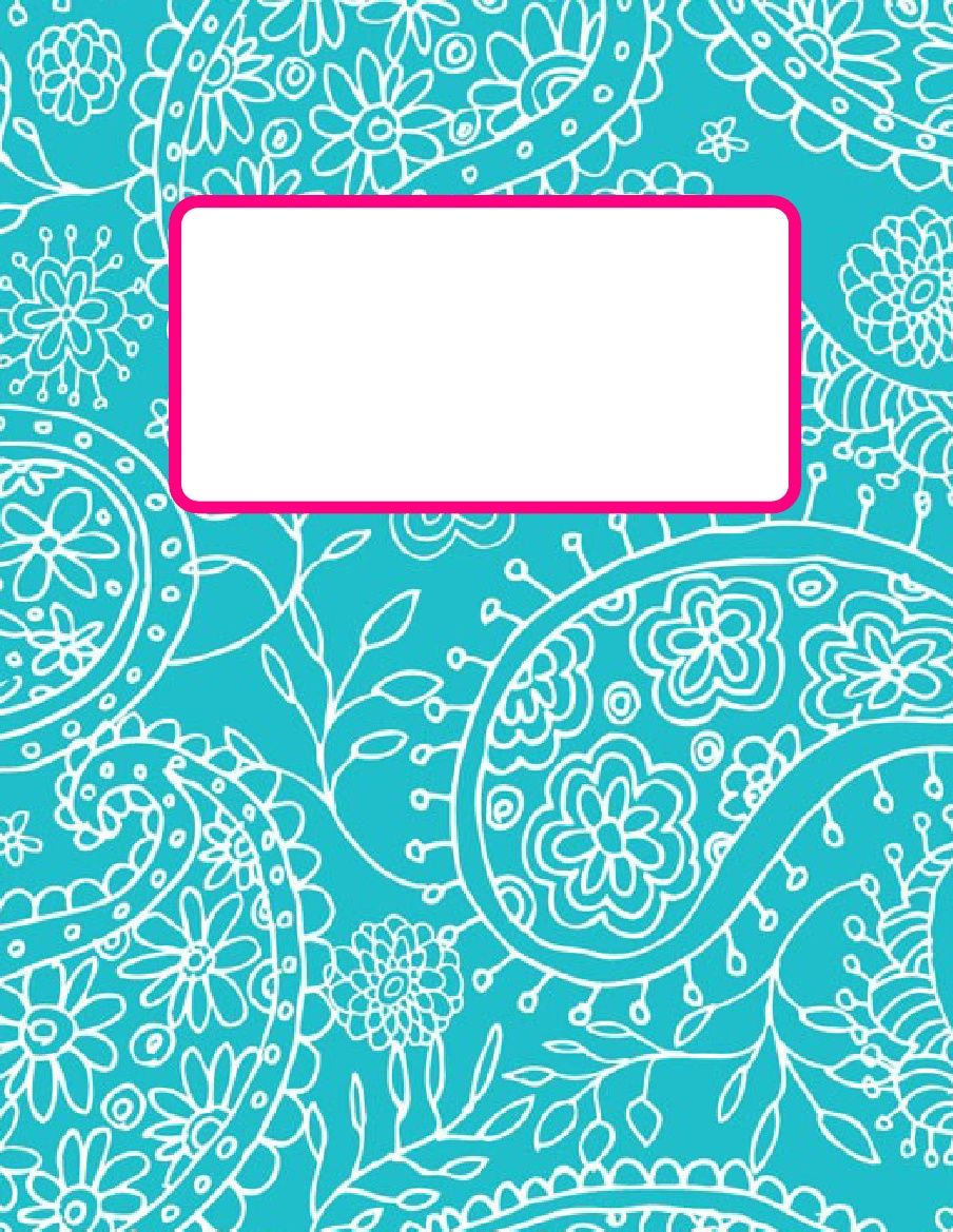 Music Book Cover Template : Printable turquiouse paisley  teacher bindercover
