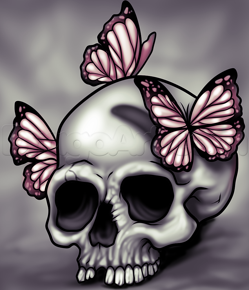 How to Draw a Skull and Butterflies, Step by Step, Skulls