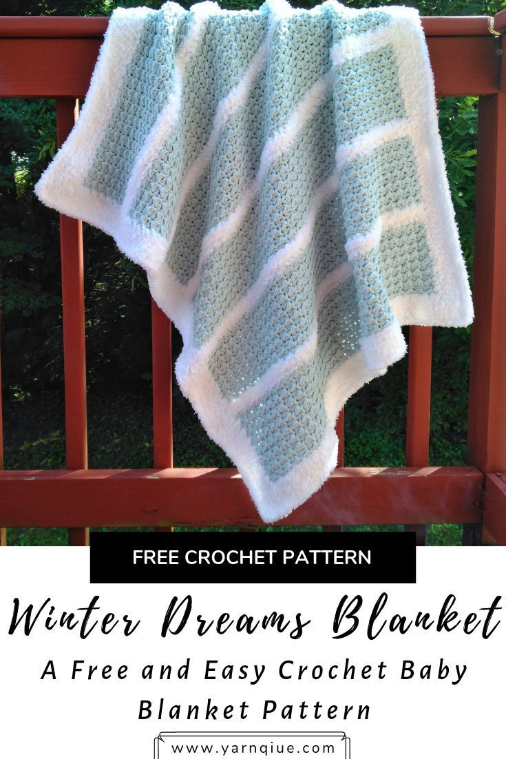 The Winter Dreams Baby Blanket is full of tons of visual and physical texture and is a perfect gift for any recipient. This is an easy difficulty crochet pattern that yields an amazing result! #crochet #crochetblanket #crochetbabyblanket #moderncrochet #d #c2cbabyblanket