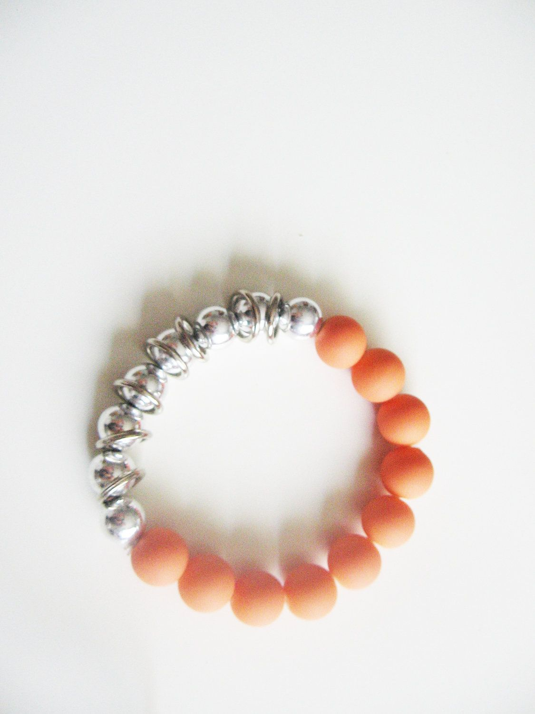 Orange matte beaded bracelet- orange and silver beads- funky ...