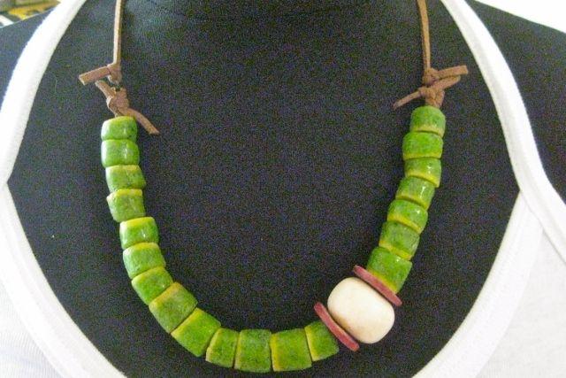 Krobo trade beads from Ghana, with bone bead and wood spacers    www.catefneely.wordpress.com