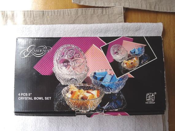 """Gardenia 4 Piece 5 inch Crystal Bowl Set """" NIB """""""
