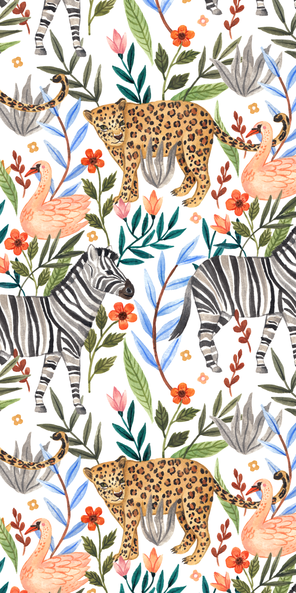 The Mighty Jungle Casetify Iphone Animals Zebra Tiger Bird Flowers Floral Art Iphone Background Wallpaper Animal Print Wallpaper Graphic Wallpaper