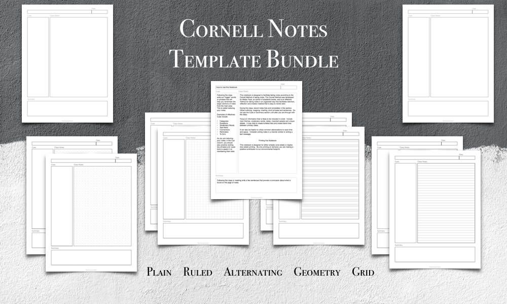 Cornell Notes Template, Printable, US Letter Size, PDF, Plain - cornell note template