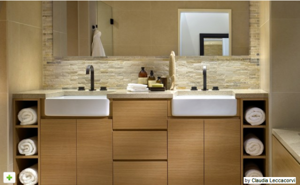 A Front Bath Sinks Towel Storage