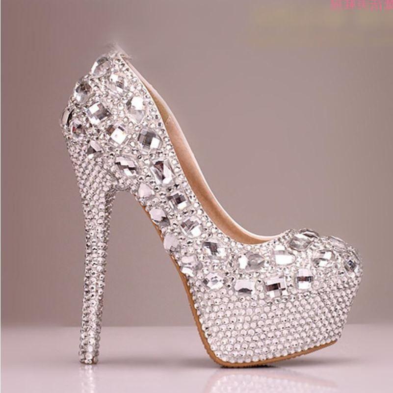 5bf0481559e High Heels Handmade Fully Rhinestone Pointed Toe Crystal Wedding Shoes
