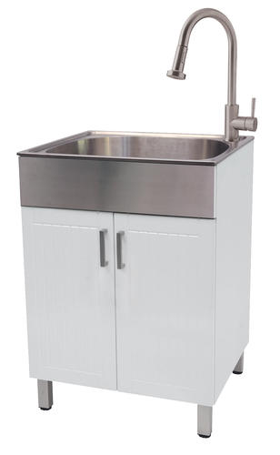 Tuscany White Laundry Cabinet Stainless Steel Sink Laundry