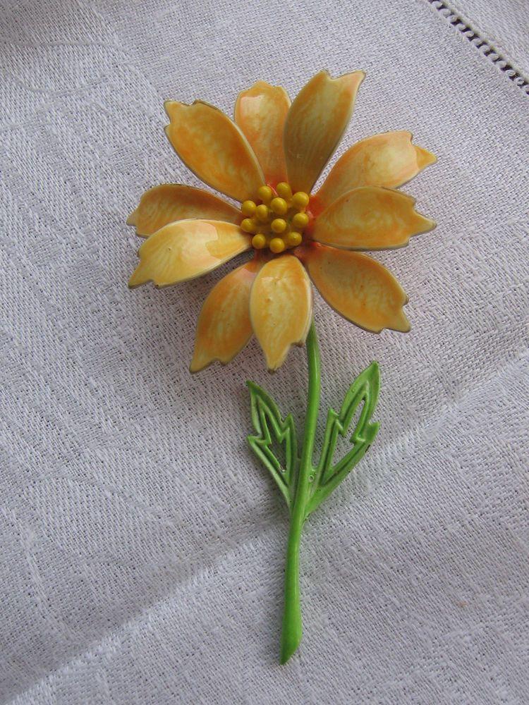 Vintage jj signed orange yellow enamel flower power floral