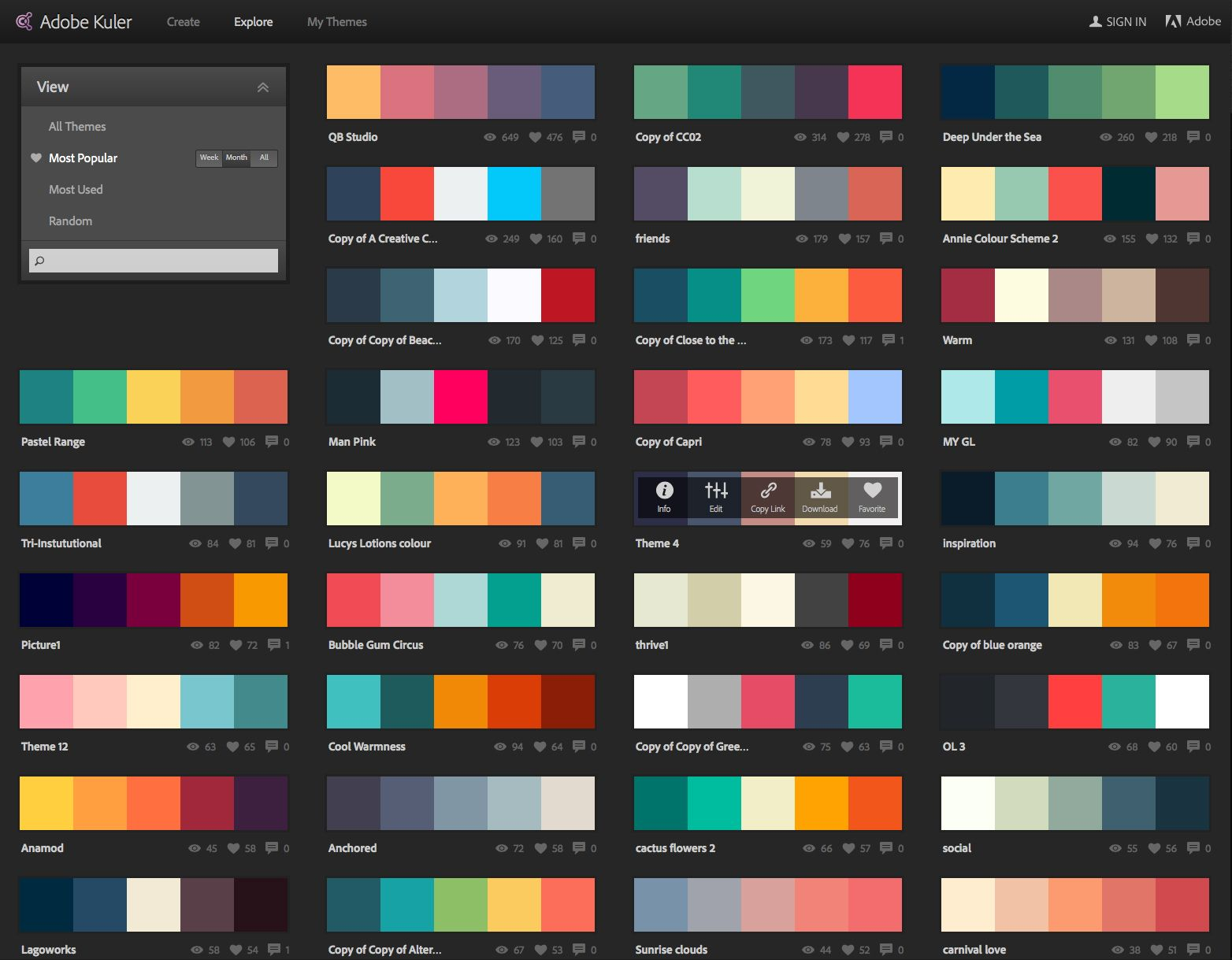 Most Popular Color Schemes This Month Sept 2014 Kuler