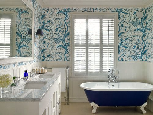 White beadboard wainscoting heighten the effect of the blue ... on wallpaper trim designs, wallpaper paneling designs, wallpaper kitchen designs, wallpaper walls designs, wallpaper bathroom designs, wallpaper paint designs, wallpaper home designs, wallpaper ceiling designs, wallpaper tile designs,