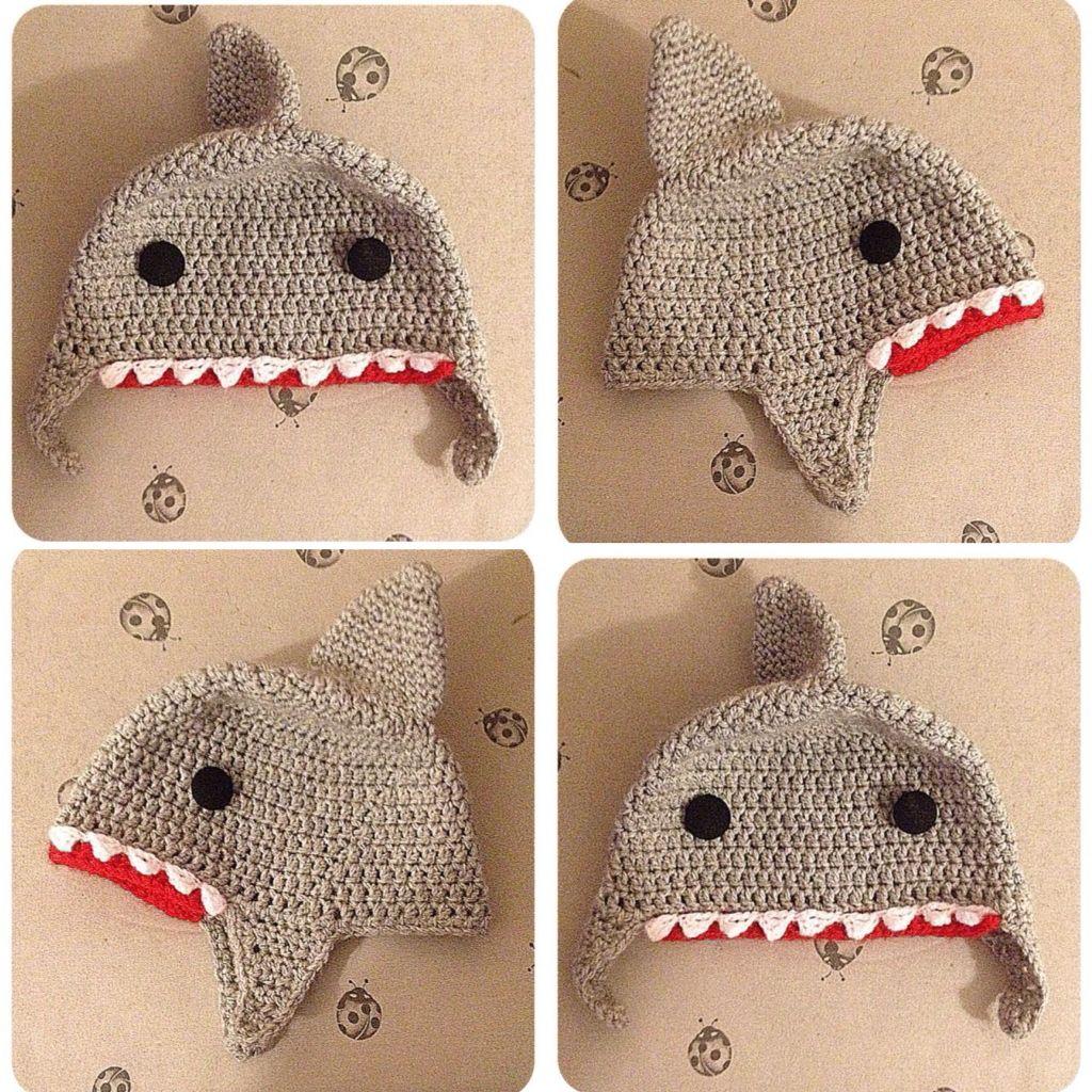 Fantástico Patrón De Sombrero De Punto De Tiburón Ideas - Manta de ...