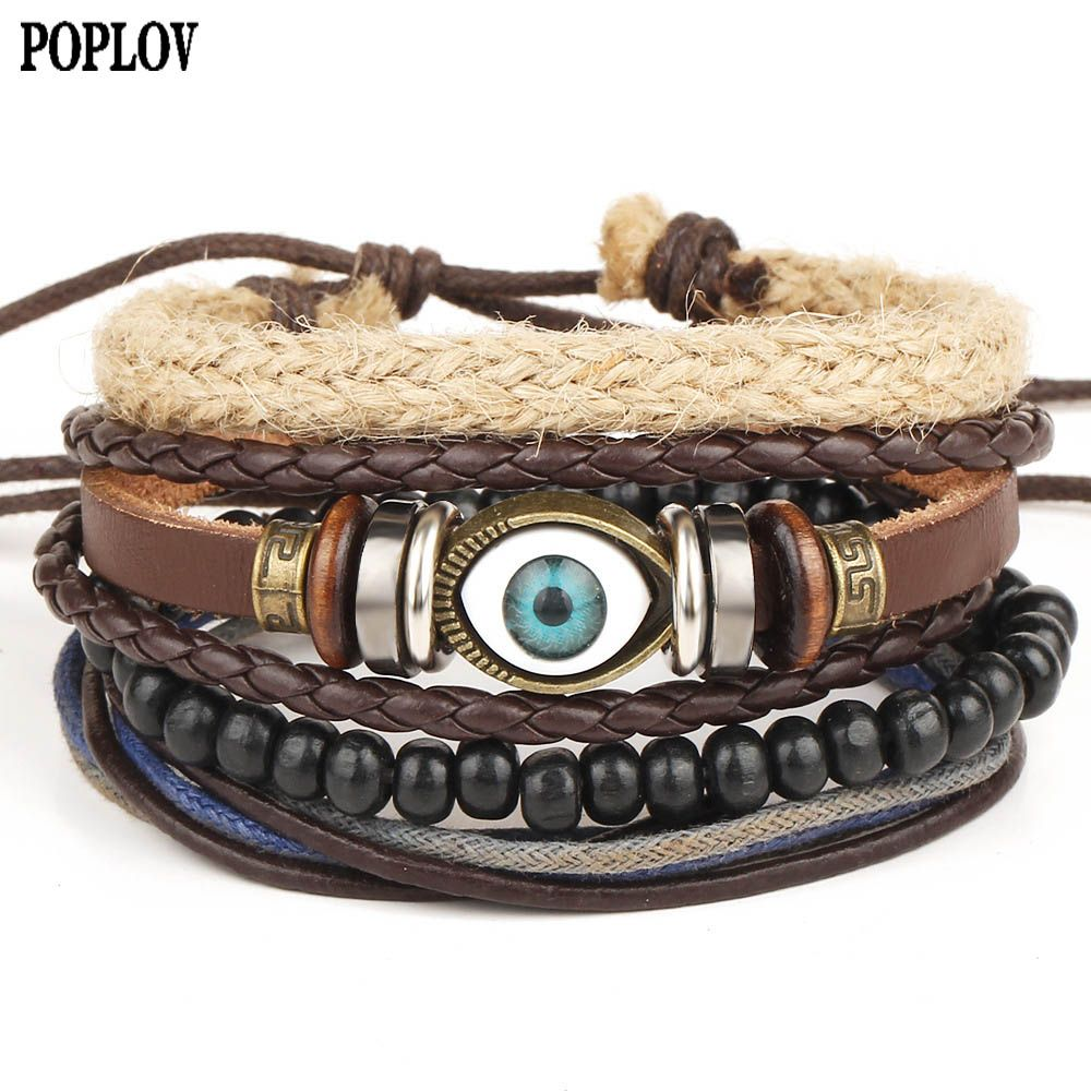 Click to buy ucuc punk design turkey wicked eyes bracelet multilayer