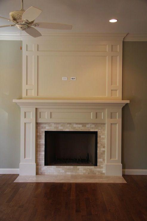 Mixed Quartz Mini Stone Subway Tile Hearths Marble fireplace