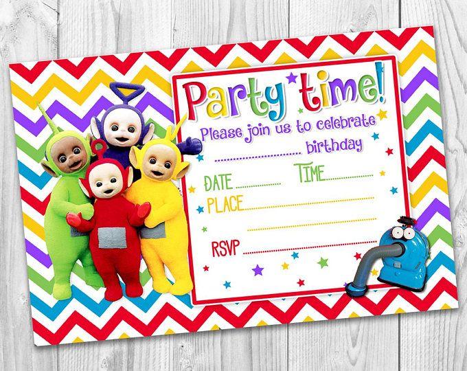 Girls Boys Invitations Teletubbies Cbeebies Rainbow Party
