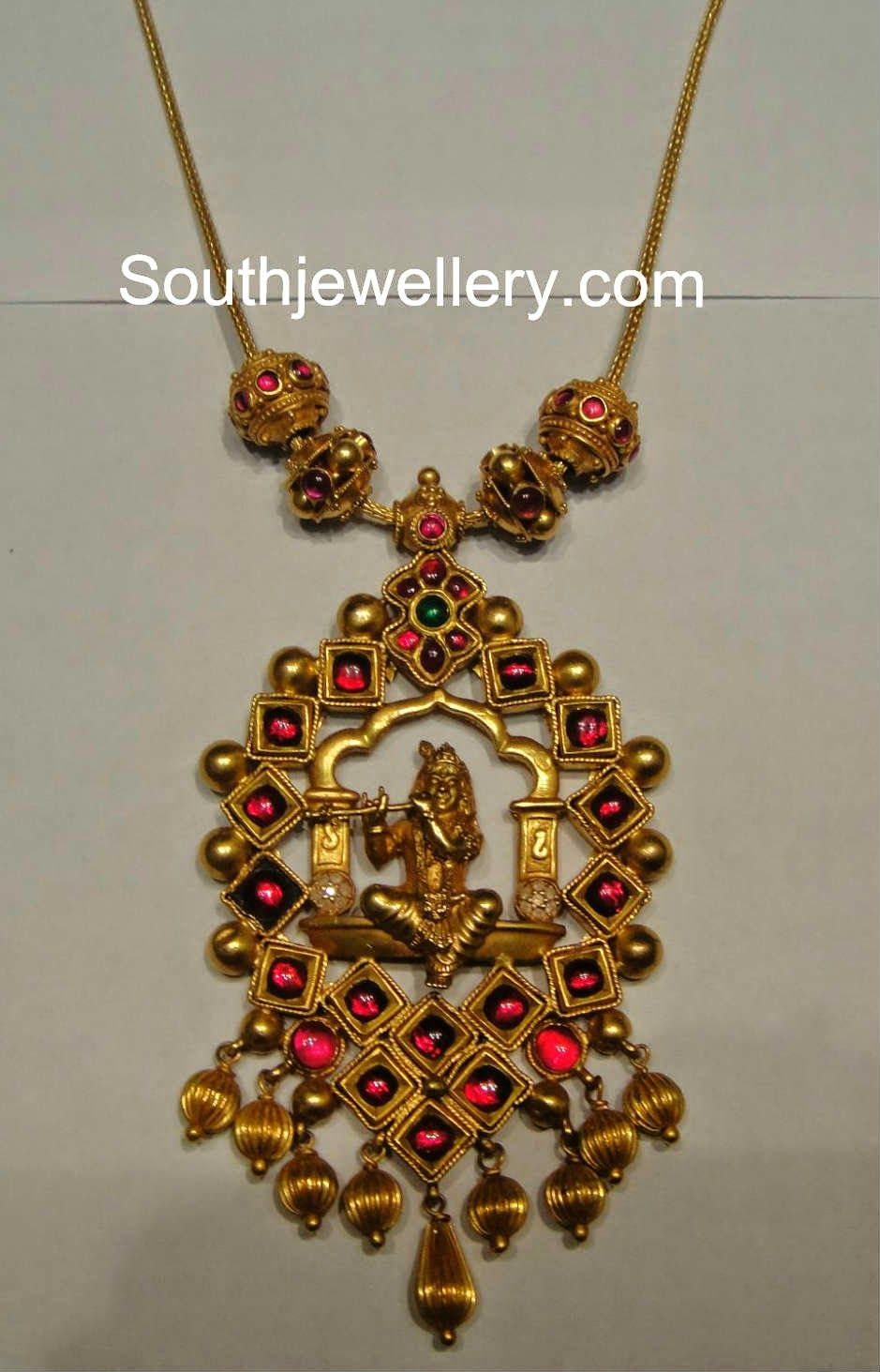 Simple antique finish temple jewellery necklace with Lord Krishna ...