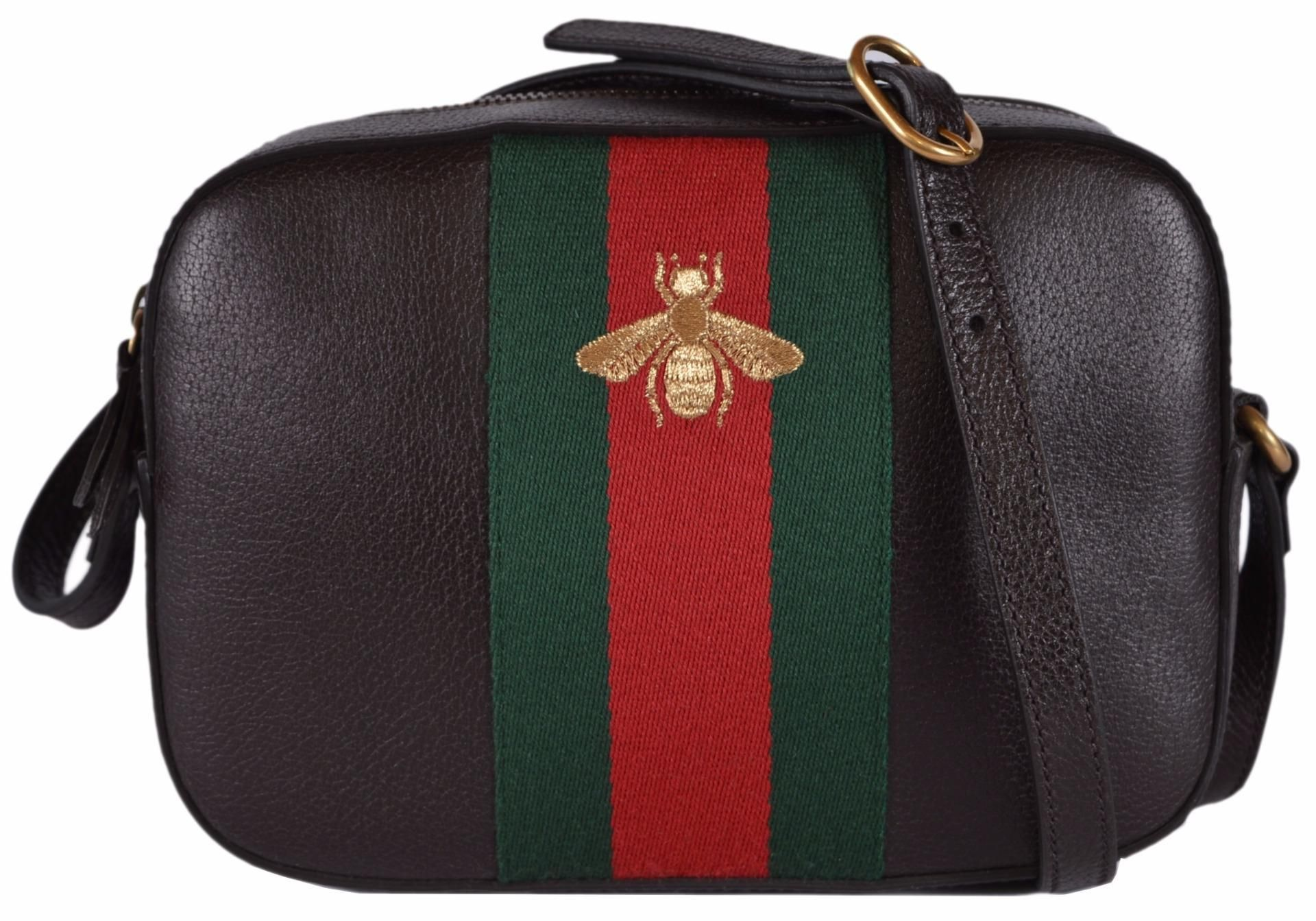 87655b1fbd7 Gucci New Women s 412008 Leather Red Green Web Bee Brown Cross Body Bag.  Get the
