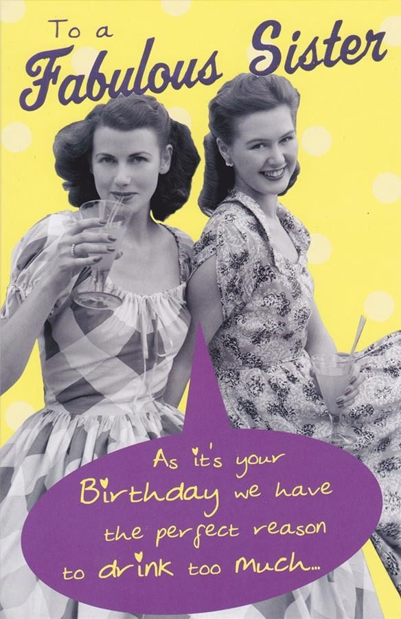 Vintage Birthday Wishes For Sister ~ Retro birthday card