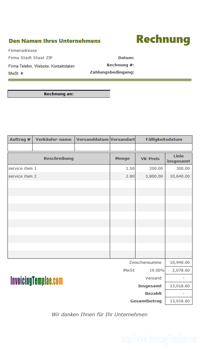 Service Billing Template For Germany Company Invoice Pinterest