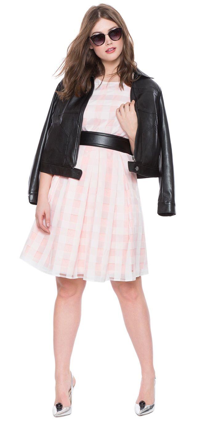 b49f5bbad7 Plus Size Plaid Organza Fit and Flare Dress