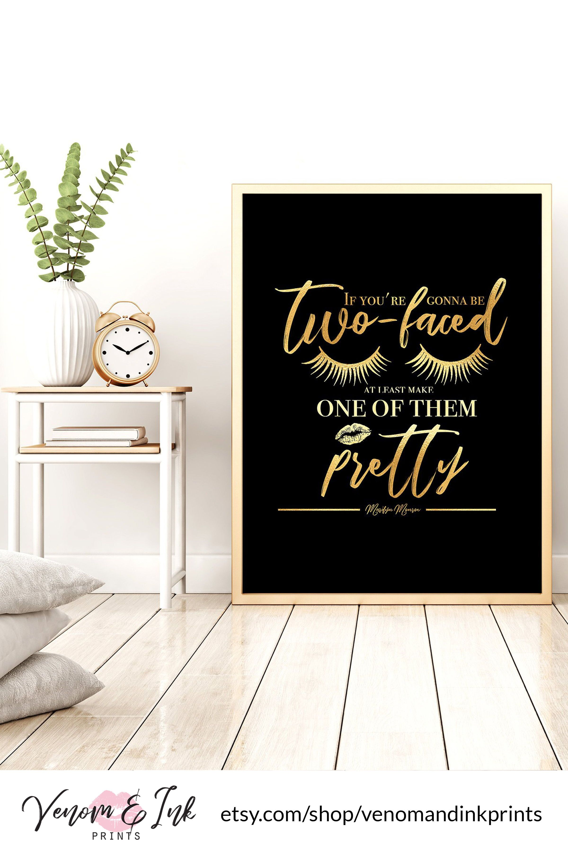 Marilyn Monroe Quote Wall Art Black And Gold Printable Black And