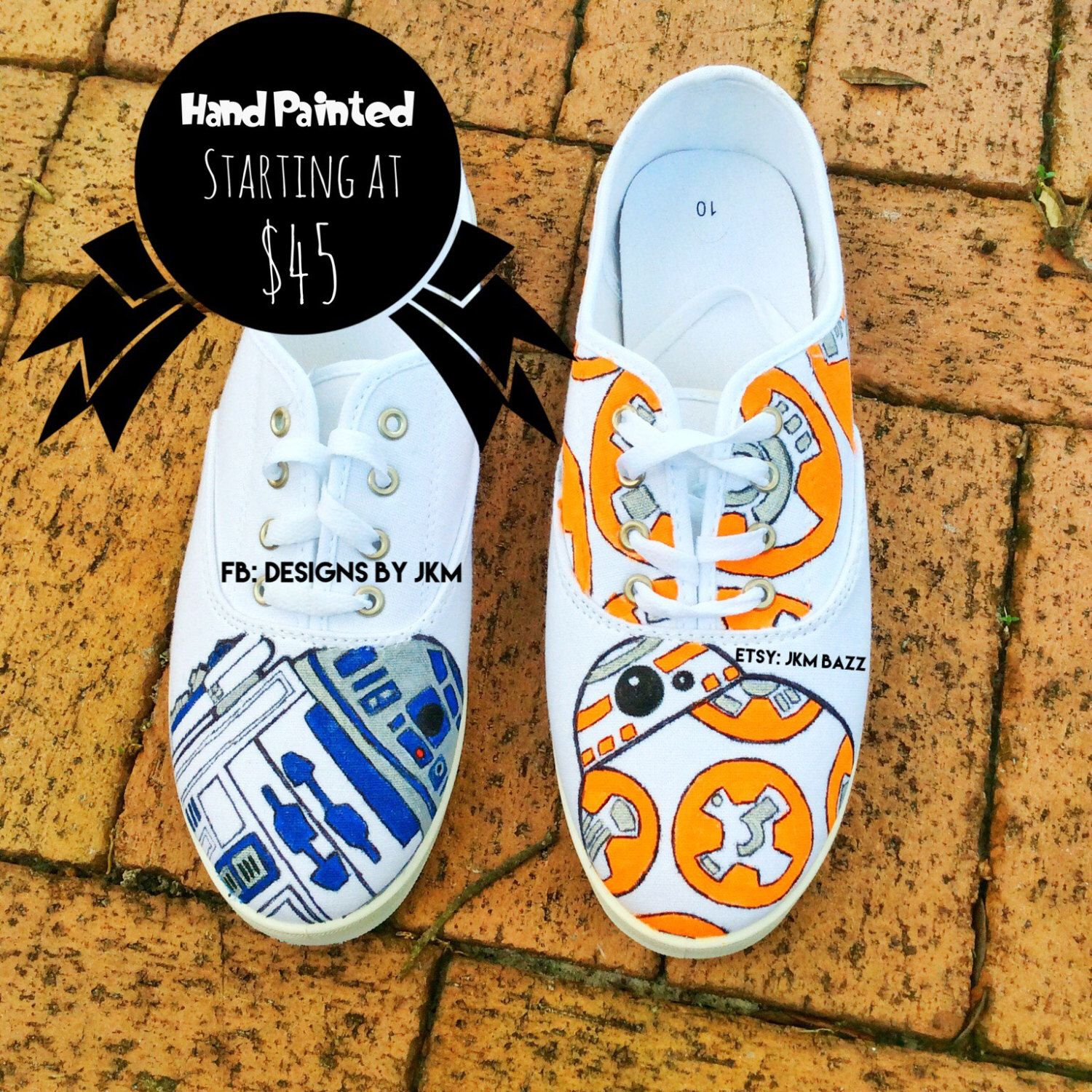 c95cd38f1f54d Hand painted canvas shoes, Star wars inspired:R2-D2 and BB-8 (adult ...