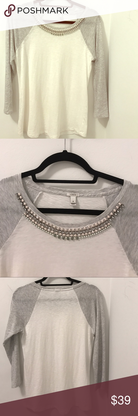 J.Crew dressy baseball tee with studded neckline A fun and dressy take on the classic baseball Tee with a rhinestone studded neckline by J.Crew. Excellent condition, only worn once! Size M. White and grey. Retail $65+tax. J. Crew Tops Tees - Long Sleeve