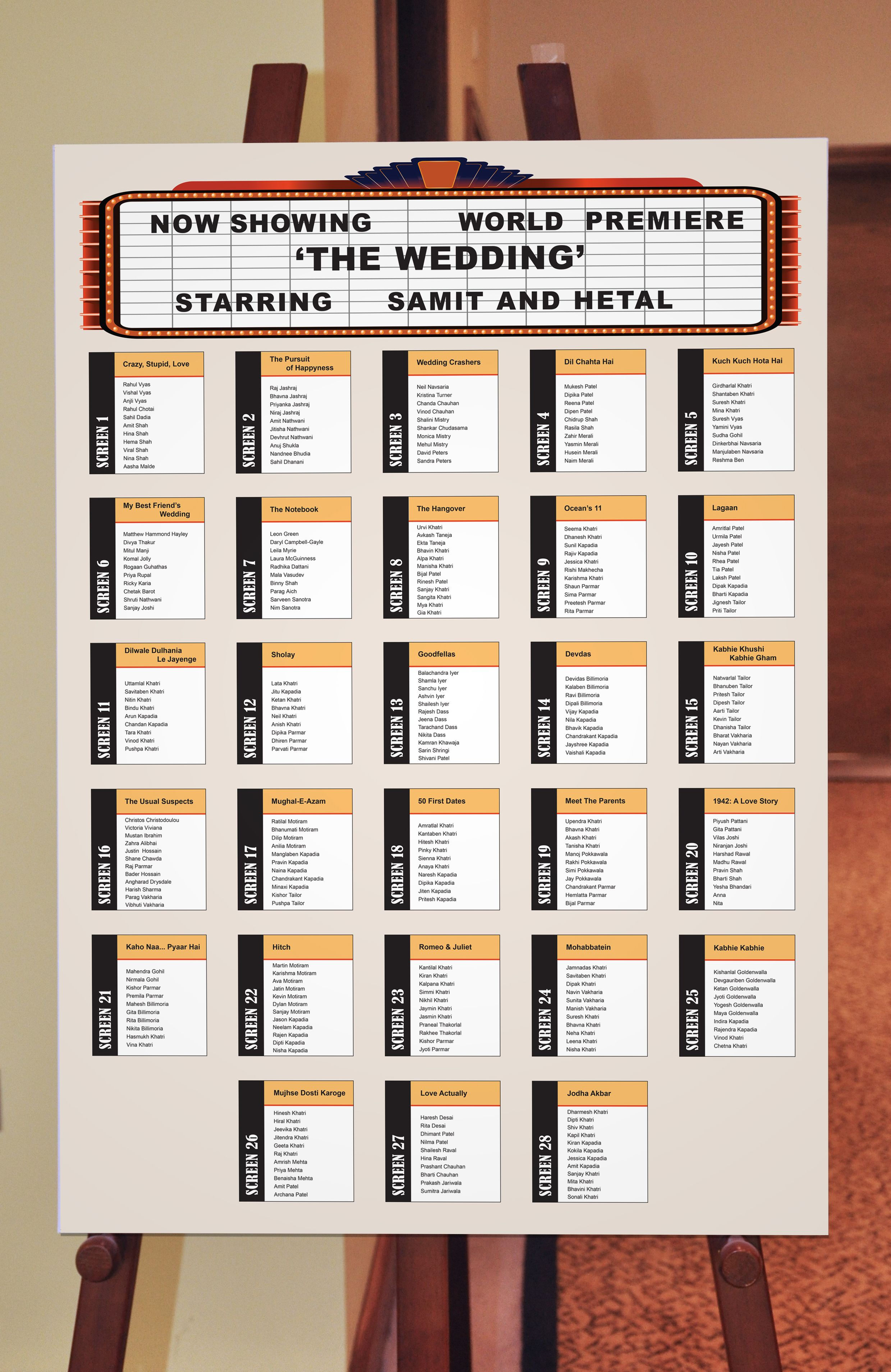 Seating plan board for a movie night themed wedding for Table plan board