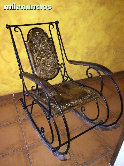 Mecedora de forja y madera tallada foto 1 sillas forja - Sillas de forja para comedor ...