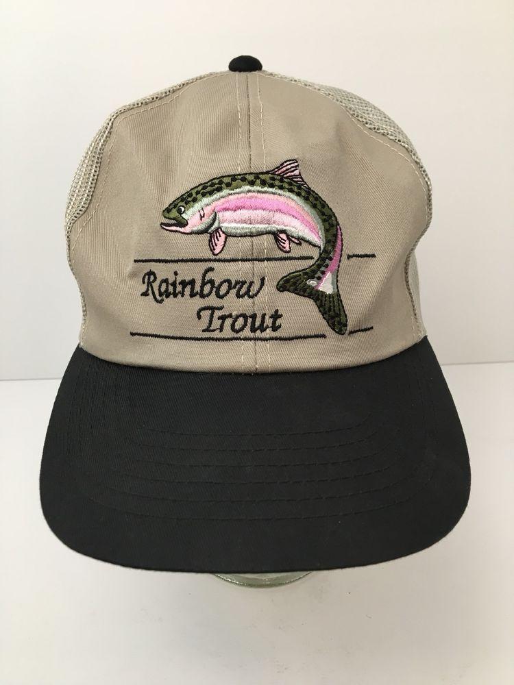 543269daa0 Vintage Rainbow Trout Trucker Hat Fishing Embroidered Broner Snapback Cap   Broner  TruckerHat